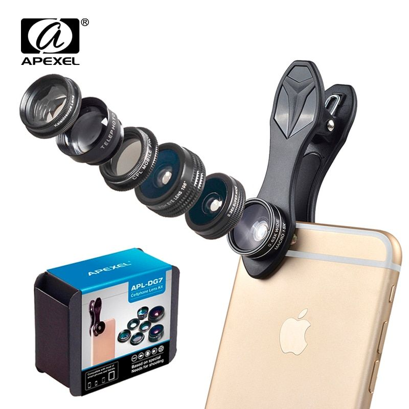 0c306dba811d32 APEXEL 7 in 1 CPL Fisheye Wide Angle Mobile Lens Macro 2X Telescope Phone  Lens Zoom Camera Lenses for iPhone X 7 8 Samsung S8 Review