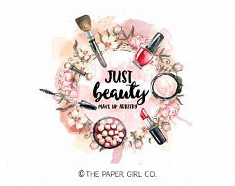 Make Up Artist Logo Beauty Shop Stylist Design Brush Artistry Premade Gold Foil