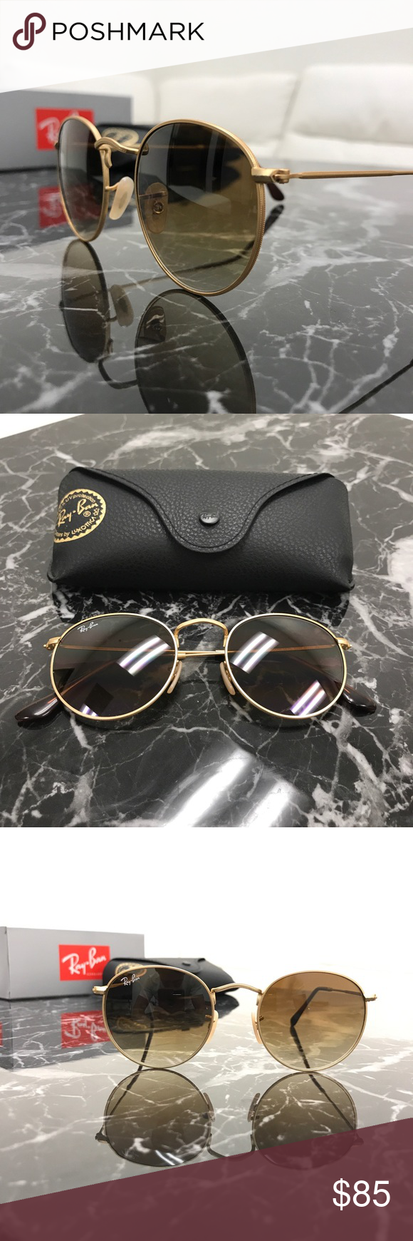 33b21d132f2 100% Authentic Ray-Ban Round Lens Sunglasses NWT Treat yourself to a  beautiful pair of brand new Ray-Ban sunglasses for 65% off retail price!