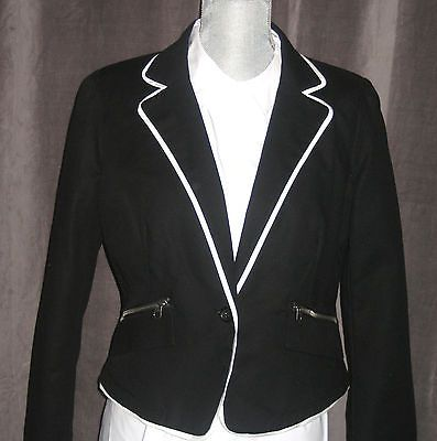 c2ed87f03df WORTHINGTON Petite Black Suit Jacket Blazer White Trim - Pet Large NWT msrp  $60