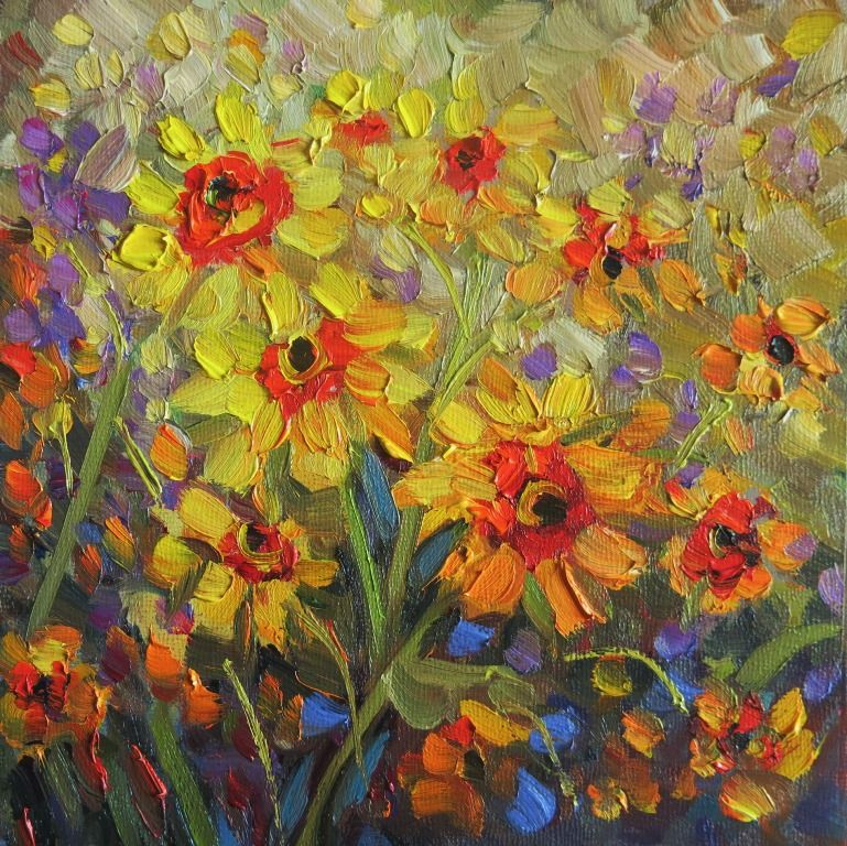"""#129  """"SPRING YELLOWS"""" 8x8"""" oil www.150facesandplaces.com"""