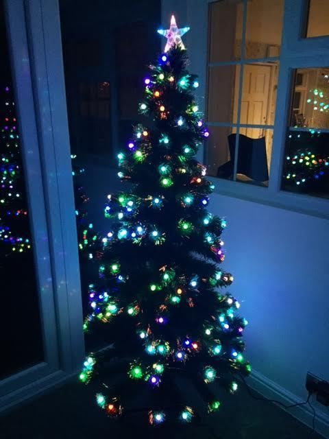 Fibre Optic Christmas Tree With Baubles.Fibre Optic Colour Changing Baubles Artificial Christmas