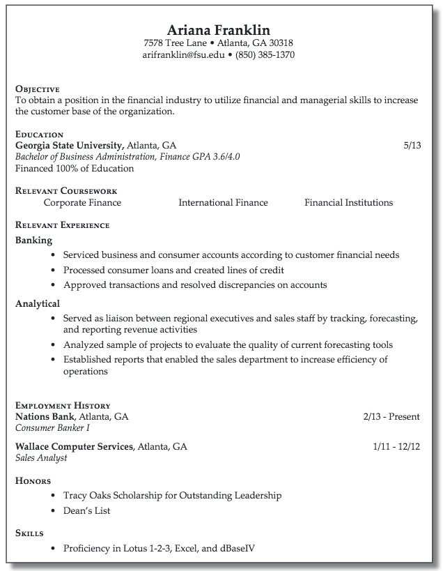Resume For Financial Industry Examples Resume Cv