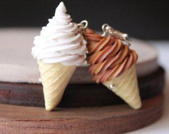 Polymer clay ice cream charm. Ice cream charm. Polymer clay miniature food jewelry