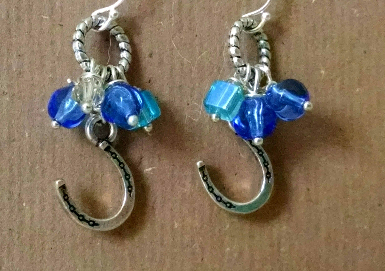 Silver Horseshoe Earrings Western Earrings Cowgirl Earrings