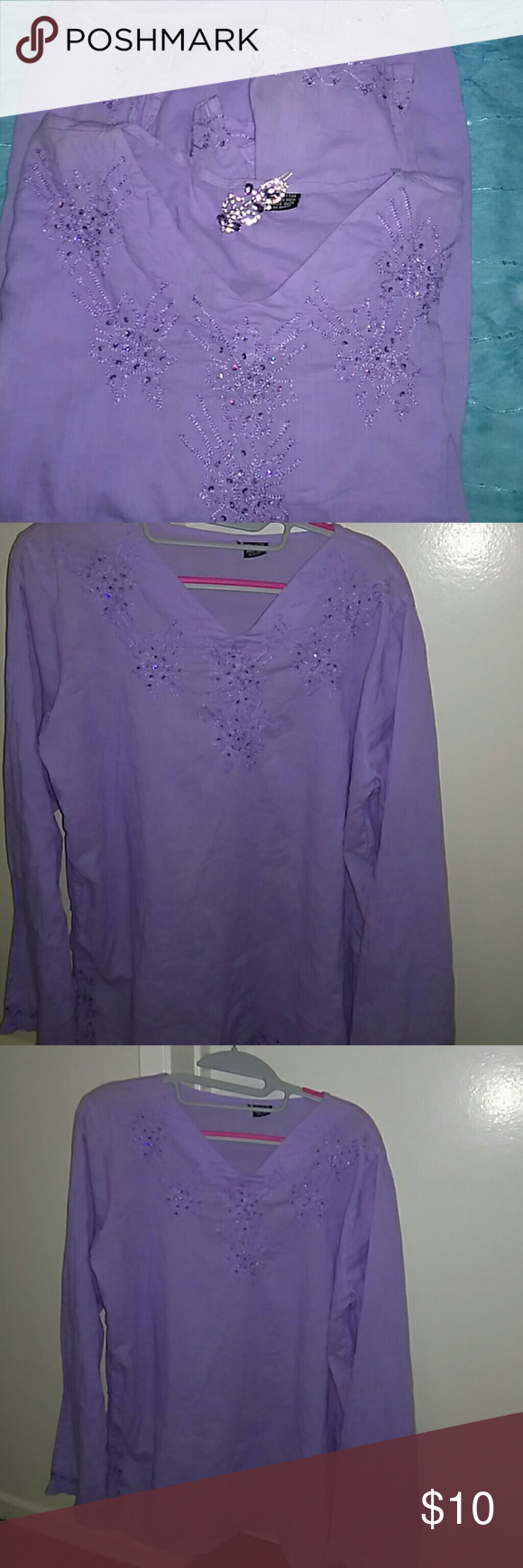 Lavender Blouse Lavender Normal Wear Blouse Style