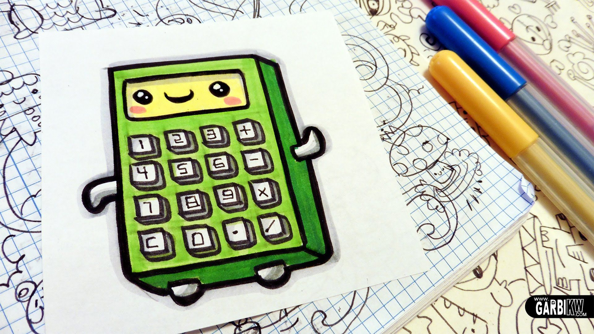 How To Draw A Cute Calculator Easy And Kawaii Drawings By Garbi Kw Kawaii Drawings Calculator Ink Doodles