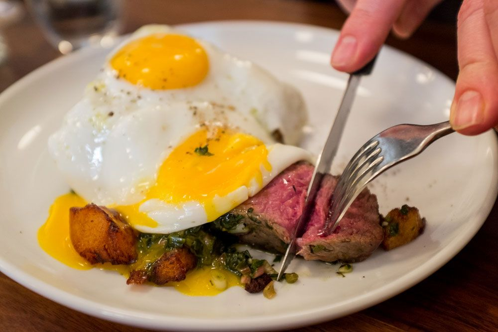 Steak and eggs at Estela in NYC. [photo by Nick Solares]