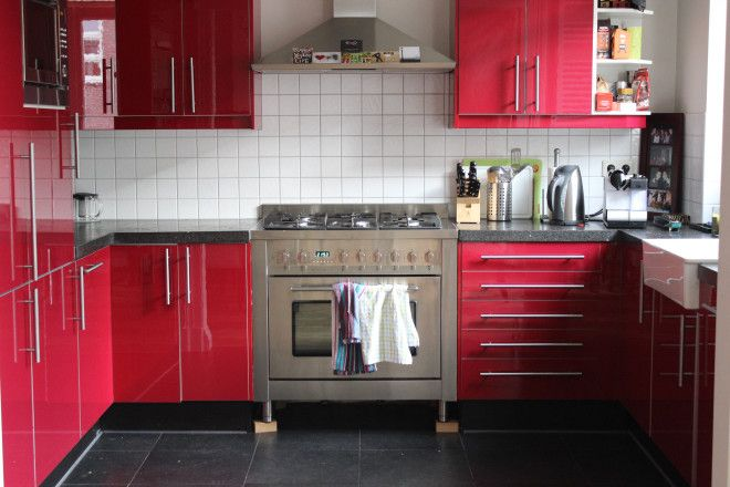 Red Modern Kitchen in Amsterdam, Netherlands