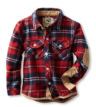 Tom and drew tom and drew boys plaid flannel shirt elbow for Mens flannel shirt with elbow patches