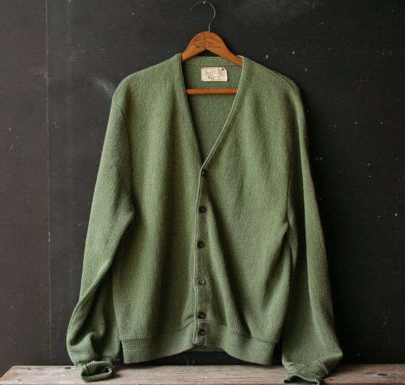 Vintage Cardigan Sweater Sage Green Wool  Mens Large by nowvintage, $32.00