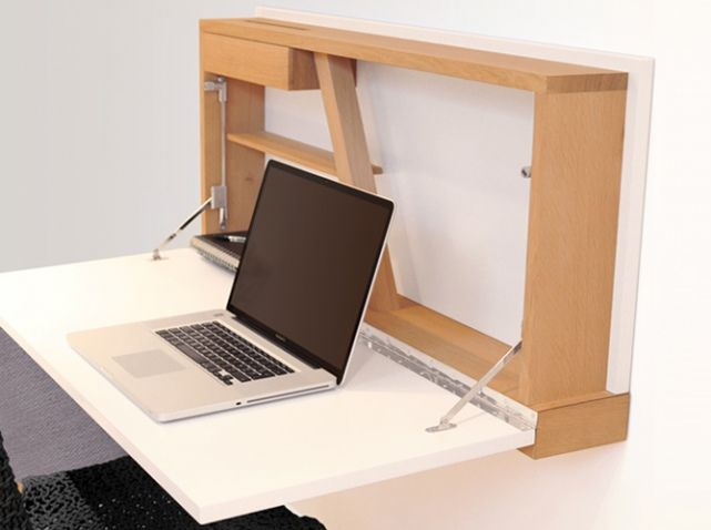 Meuble gain de place wadebe mobiliers pinterest for Meuble bureau escamotable