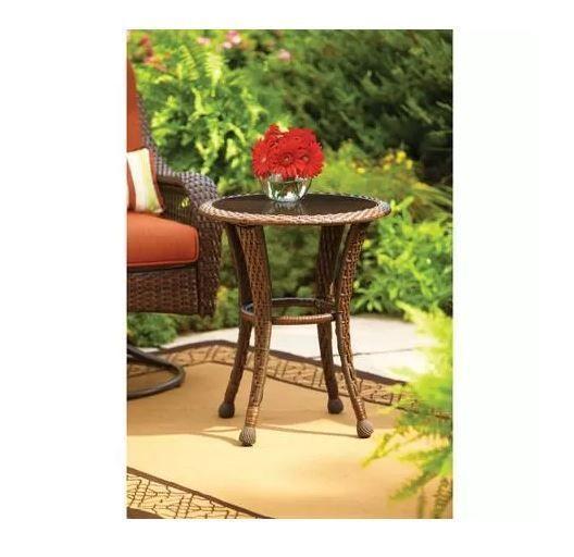 Wicker Woven Glass Top Side End Table Indoor Outdoor Patio Deck Bedroom Sunroom  #LeisureGardenFurniture