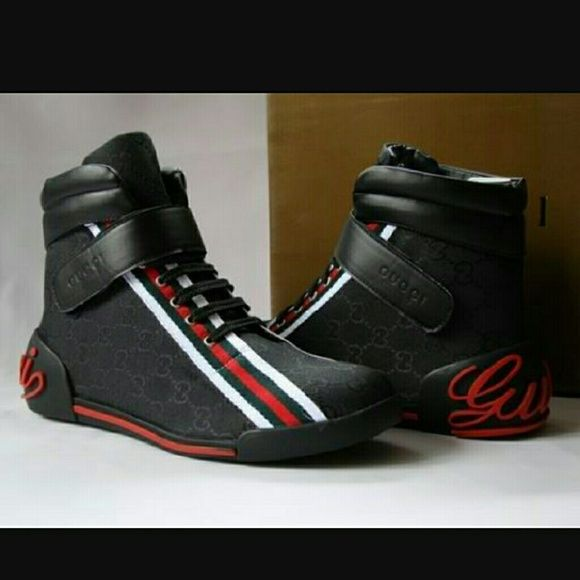 authentic gucci mens blk original high top gucci shoes