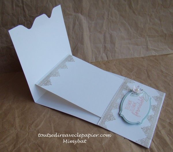 inside view of noteholder card ... latches with top sliding under the label ... Stampin' Up!