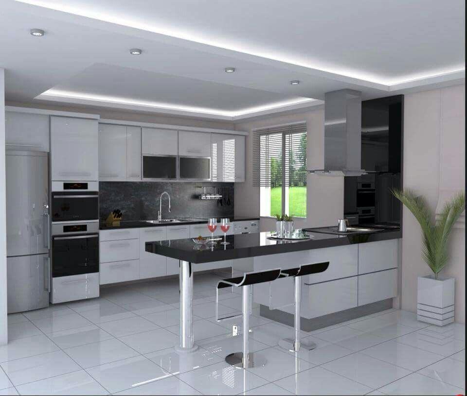 White _ black kitchen Casa Pinterest Cocina moderna, Cocinas y - Cocinas Integrales Blancas