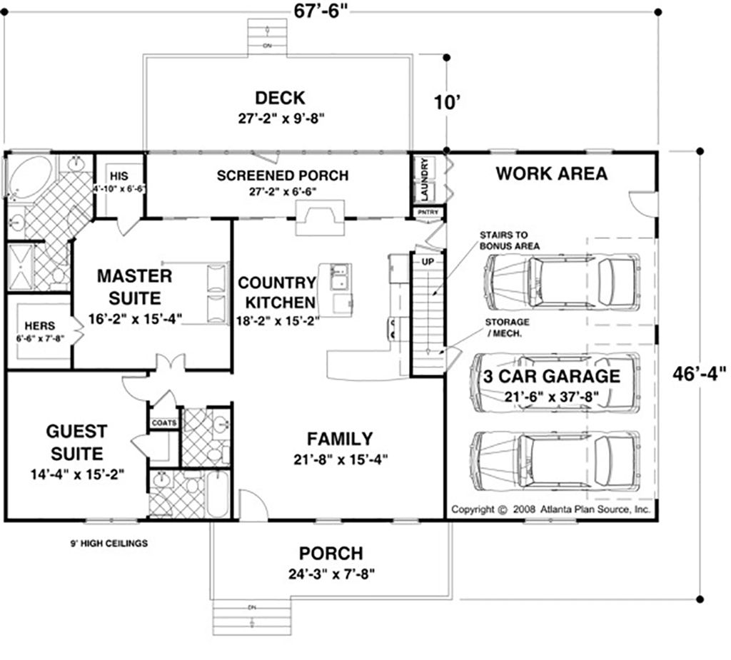 Ranch Style House Plan - 2 Beds 2.50 Baths 1500 Sq/Ft Plan #56-622 ...