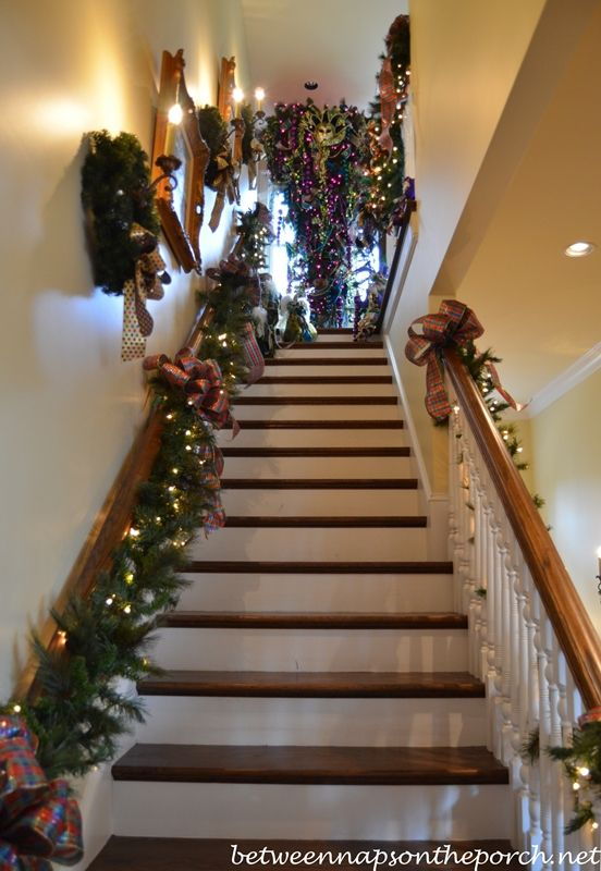 Tour A Beautiful Victorian Home Decorated For Christmas Part V Christmas Staircase Fun Christmas Decorations Outdoor Christmas Lights