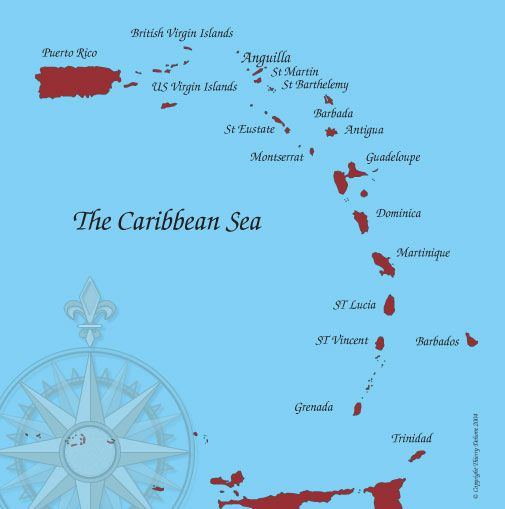 Map of Caribbean islands Anguilla Islands Pinterest