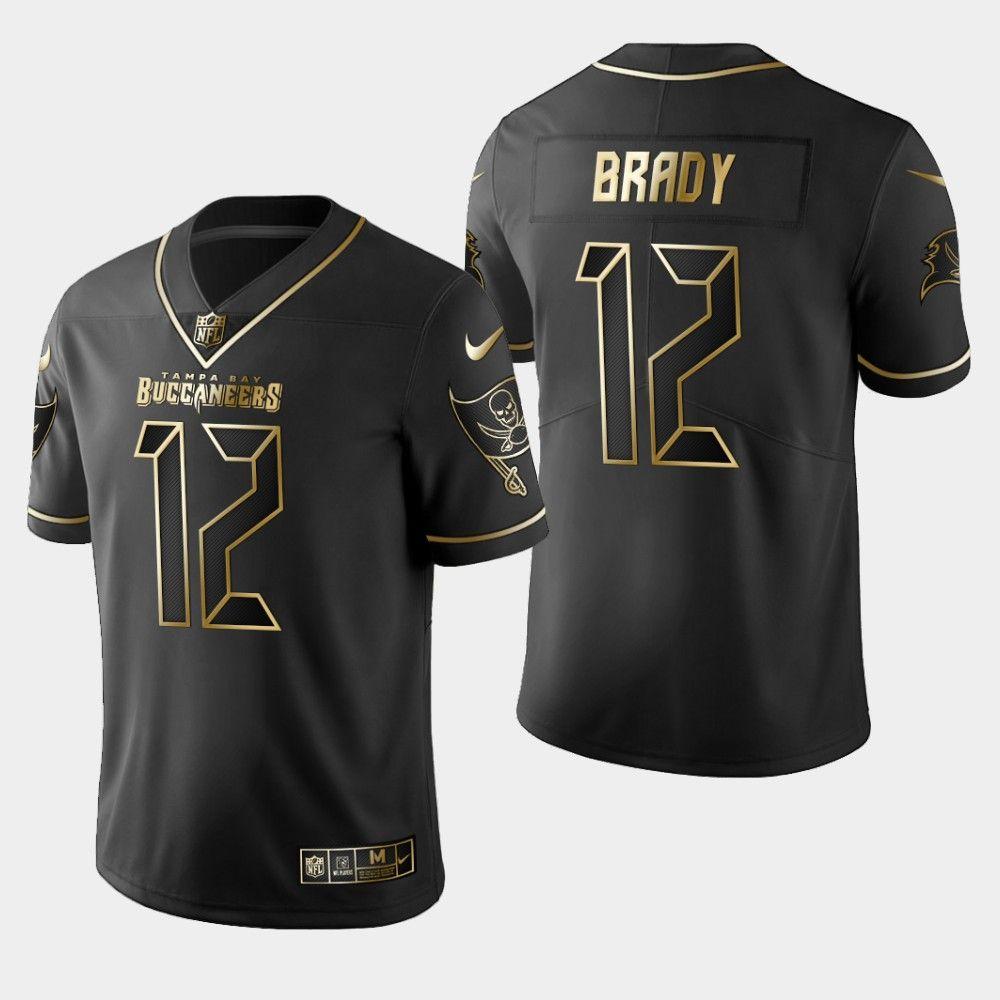 Men's Tampa Bay Buccaneers Tom Brady 00 Golden Black Jersey ...