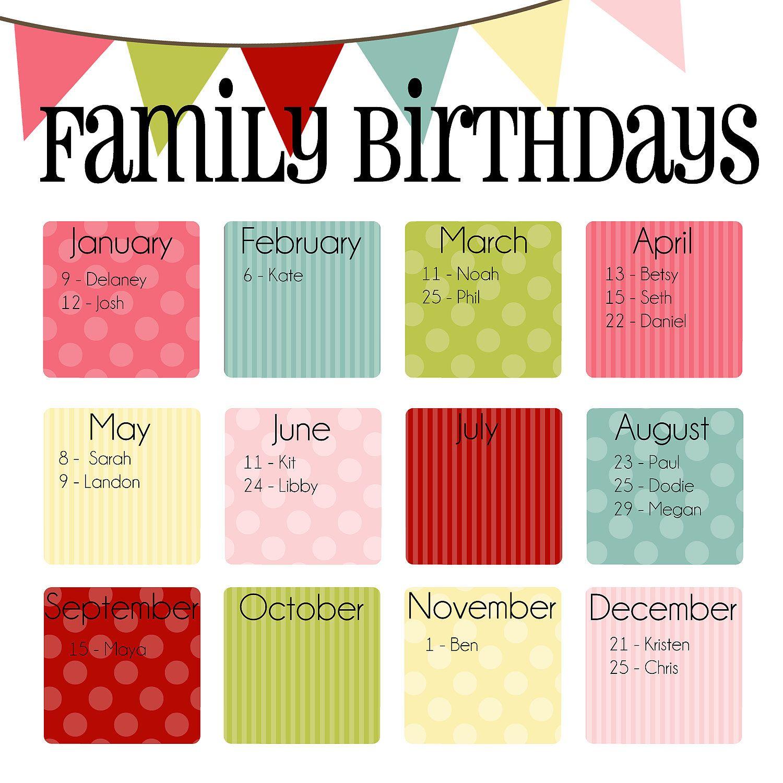 family birthday calendar digital copy you print in ice cream
