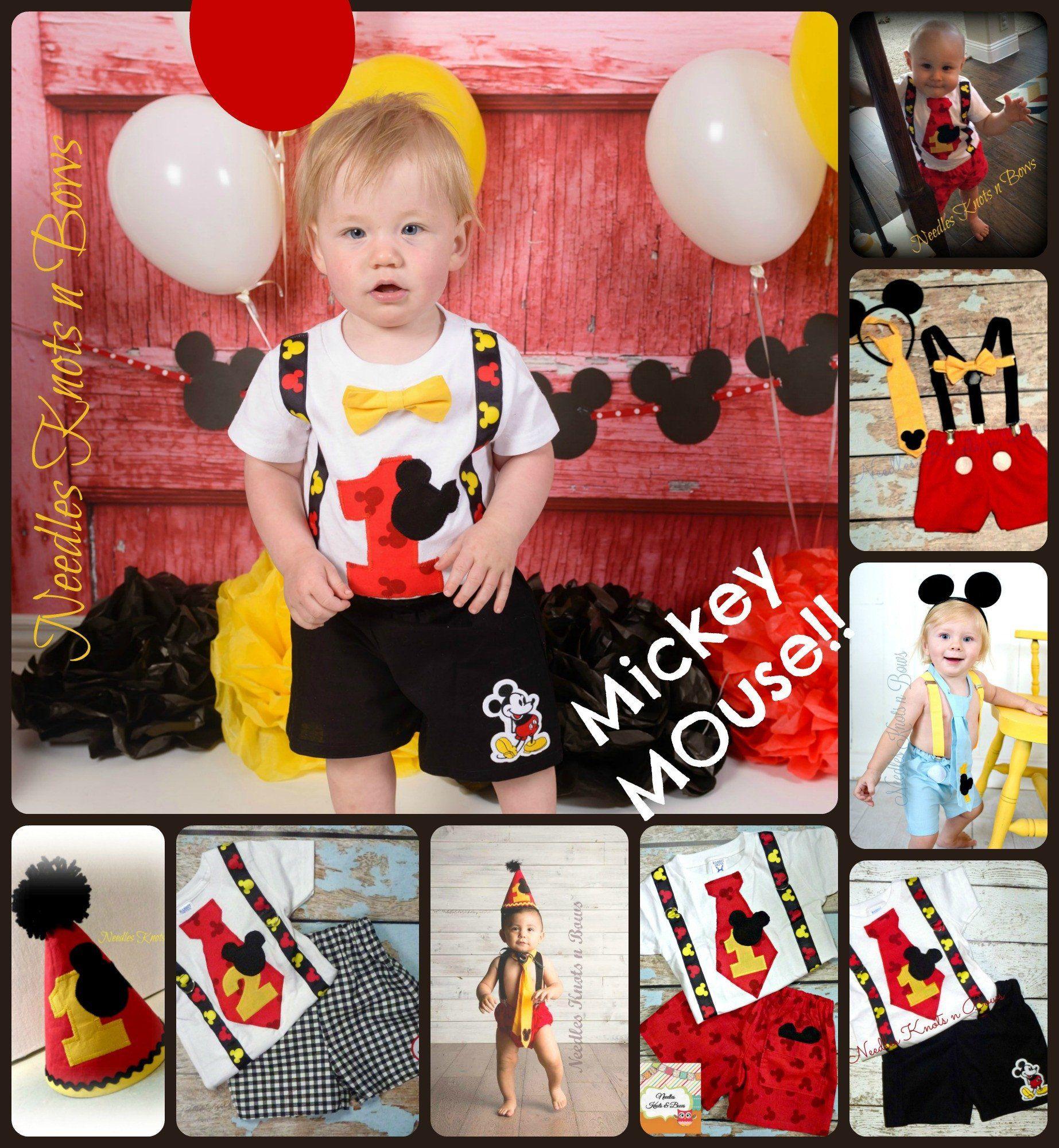 Boys mickey mouse cake smash boys 1st birthday outfit