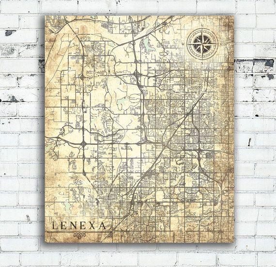 LENEXA KS Canvas Print Kansas Town City Vintage map Vintage Map Wall