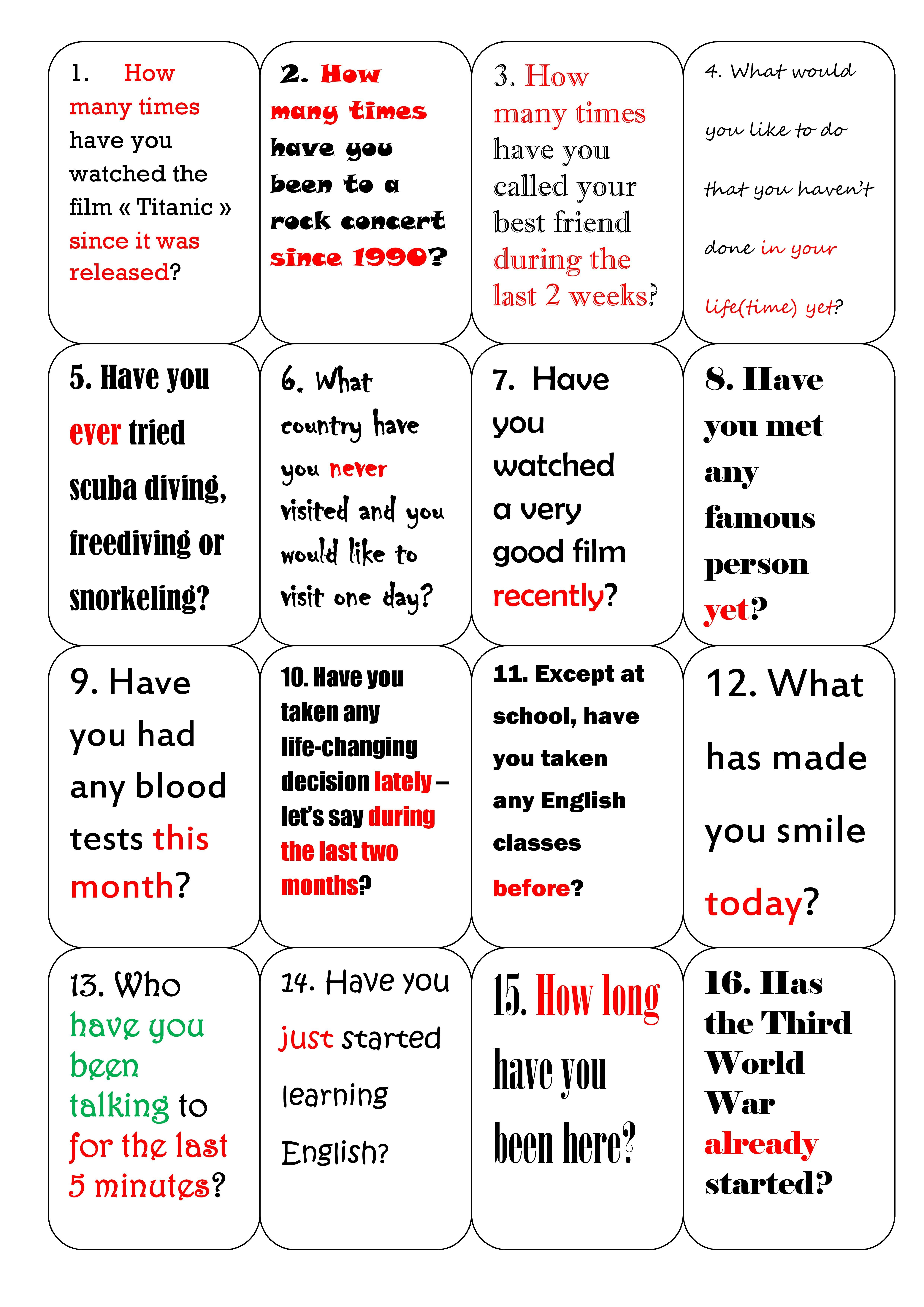 Present Perfect Cards
