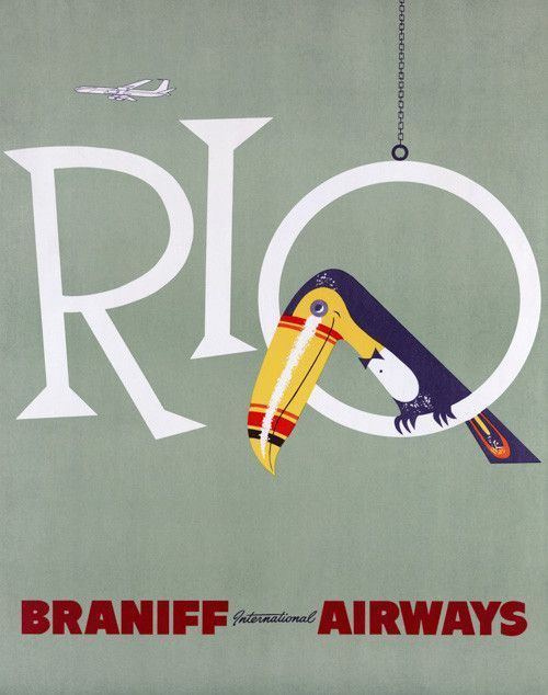 """Rio: Braniff International Airways. A toucan sits in the letter """"o"""" in the vintage Brazilian travel poster from Braniff International Airways. Circa 1950s. Rio de Janeiro, Brazil."""