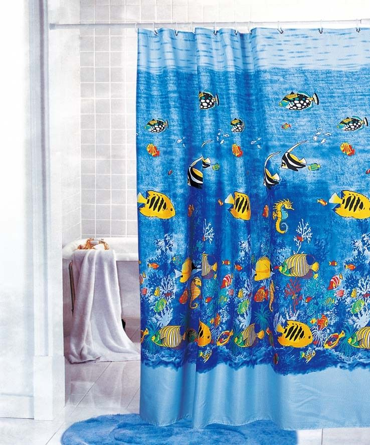 Gorgeous Tropical Fish Fabric Shower Curtain Y2708 | Tropical fish ...