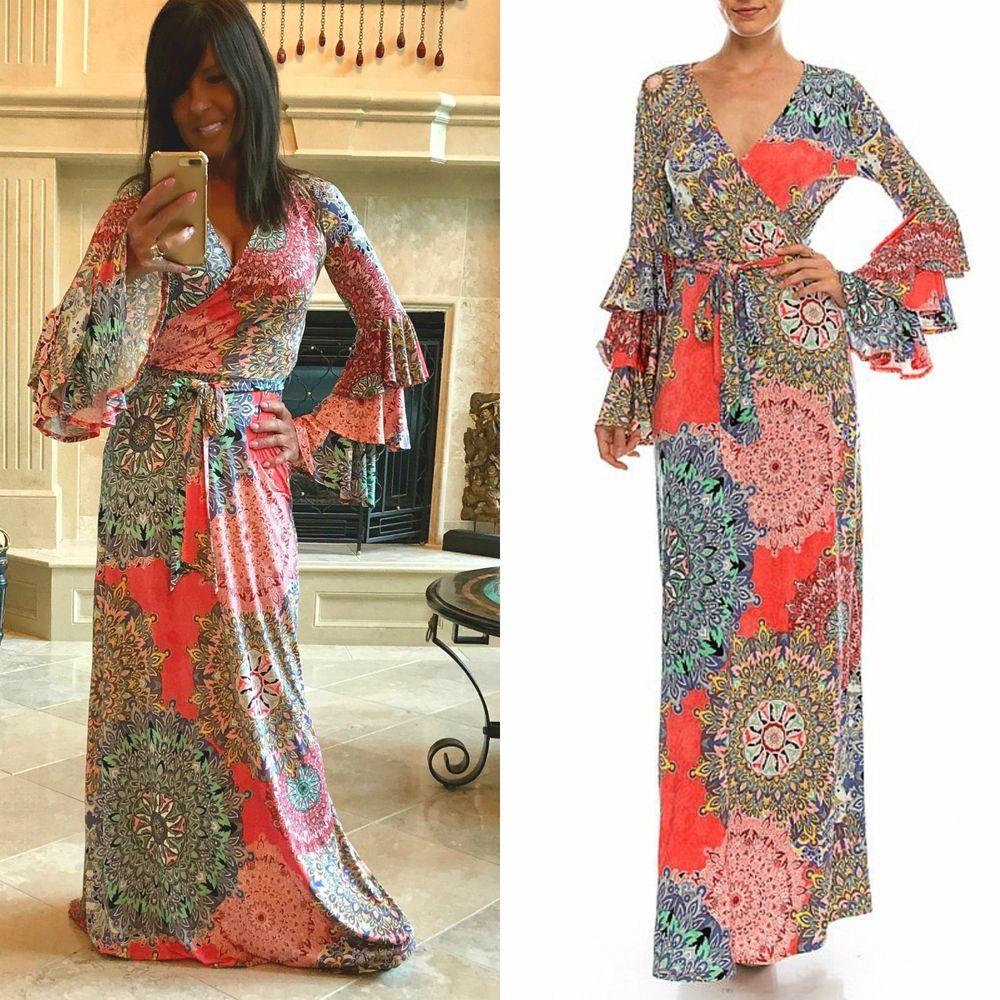 Details about janette the famous coral paisley maxi wrap dress