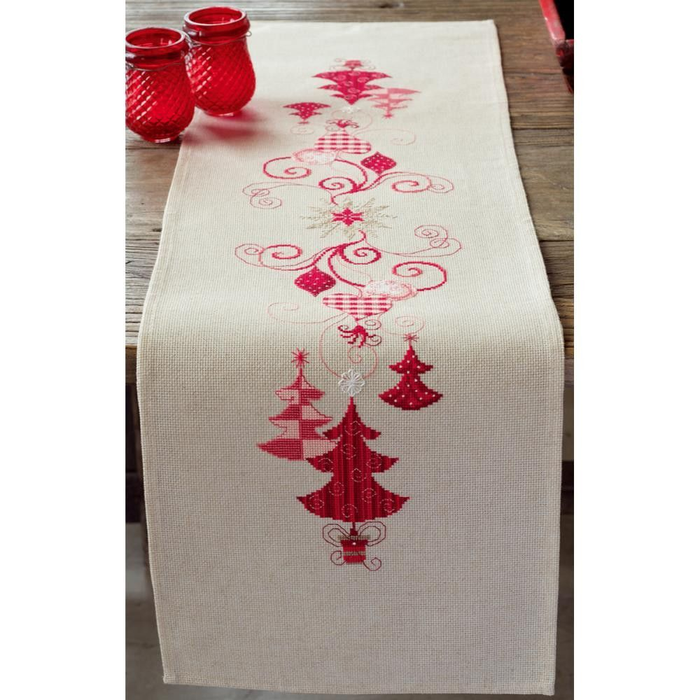 "Red Christmas Decorations Table Runner Counted Cross Stitch -11.6""X40.8"" 14 Count"
