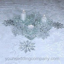 Centre de table original vase carre applique strass de noel mariage theme flocons de neige hiver - Theme noel original ...