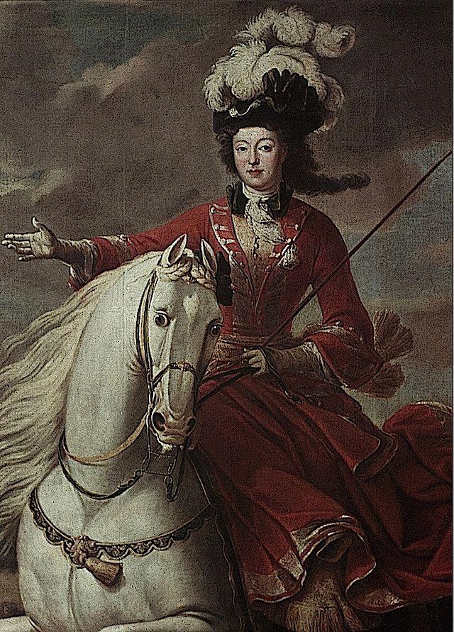 Elizabeth-Charlotte d'Orléans, princesse de Commercy duchesse de Lorraine on horse by Jean Baptiste Martin close up