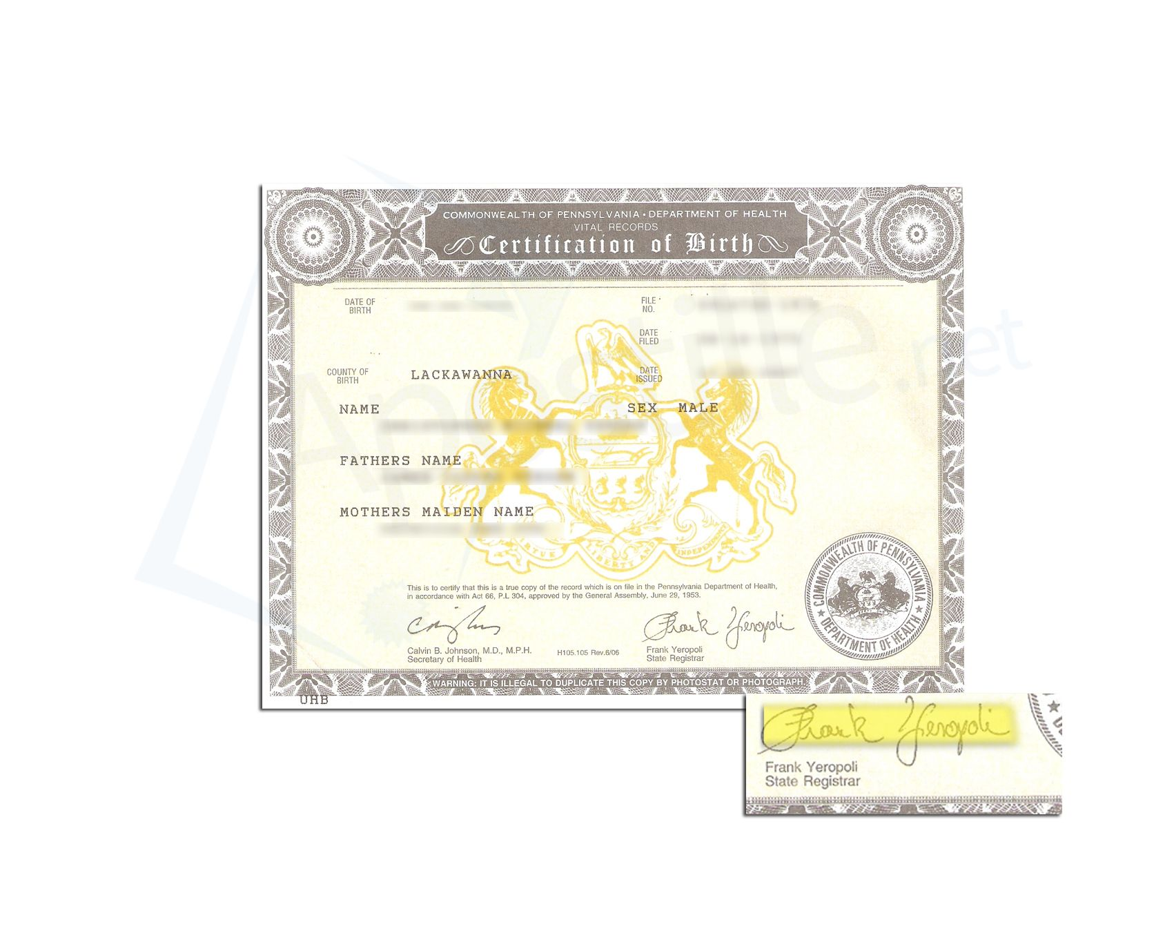 County Of Lackawanna State Of Pennsylvania Birth Certificate Issued