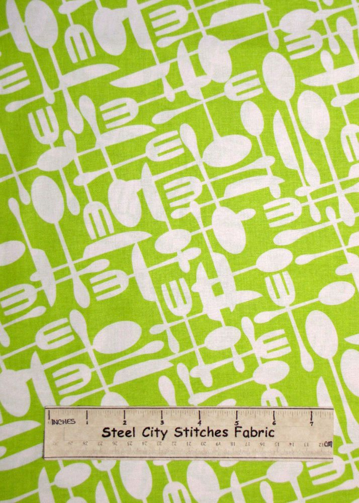 Timeless Treasures Fork Knife Spoon Kitchen Eat Food Green Cotton Fabric YARD #TimelessTreasuresFabric