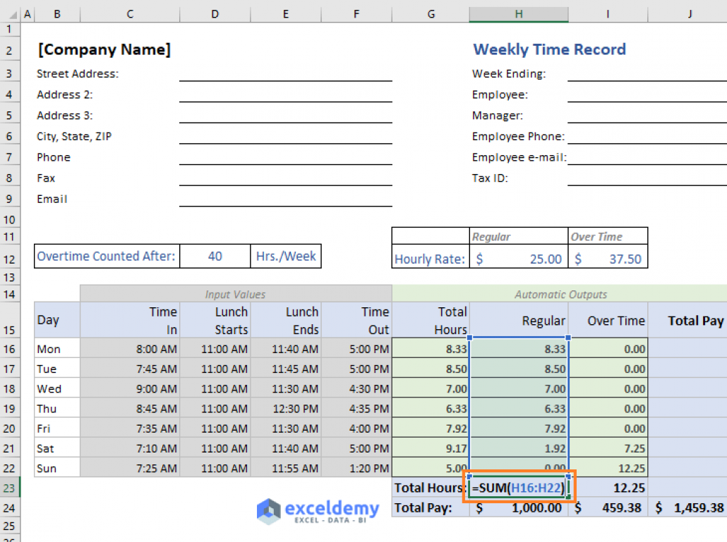 Excel Formula To Calculate Hours Worked And Overtime With