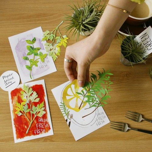 PAPER SALAD DAY-Fresh Herb Postcard(Rosemary)