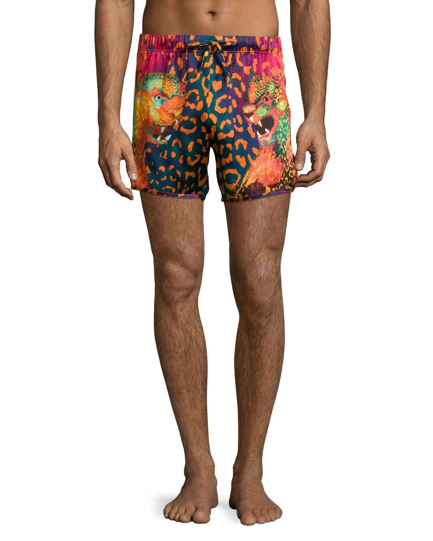 5ad870fc43 Animal-Print Swim Trunks, Black/Fuchsia, Men's, Size: M, Black/Fuschia -  Versace