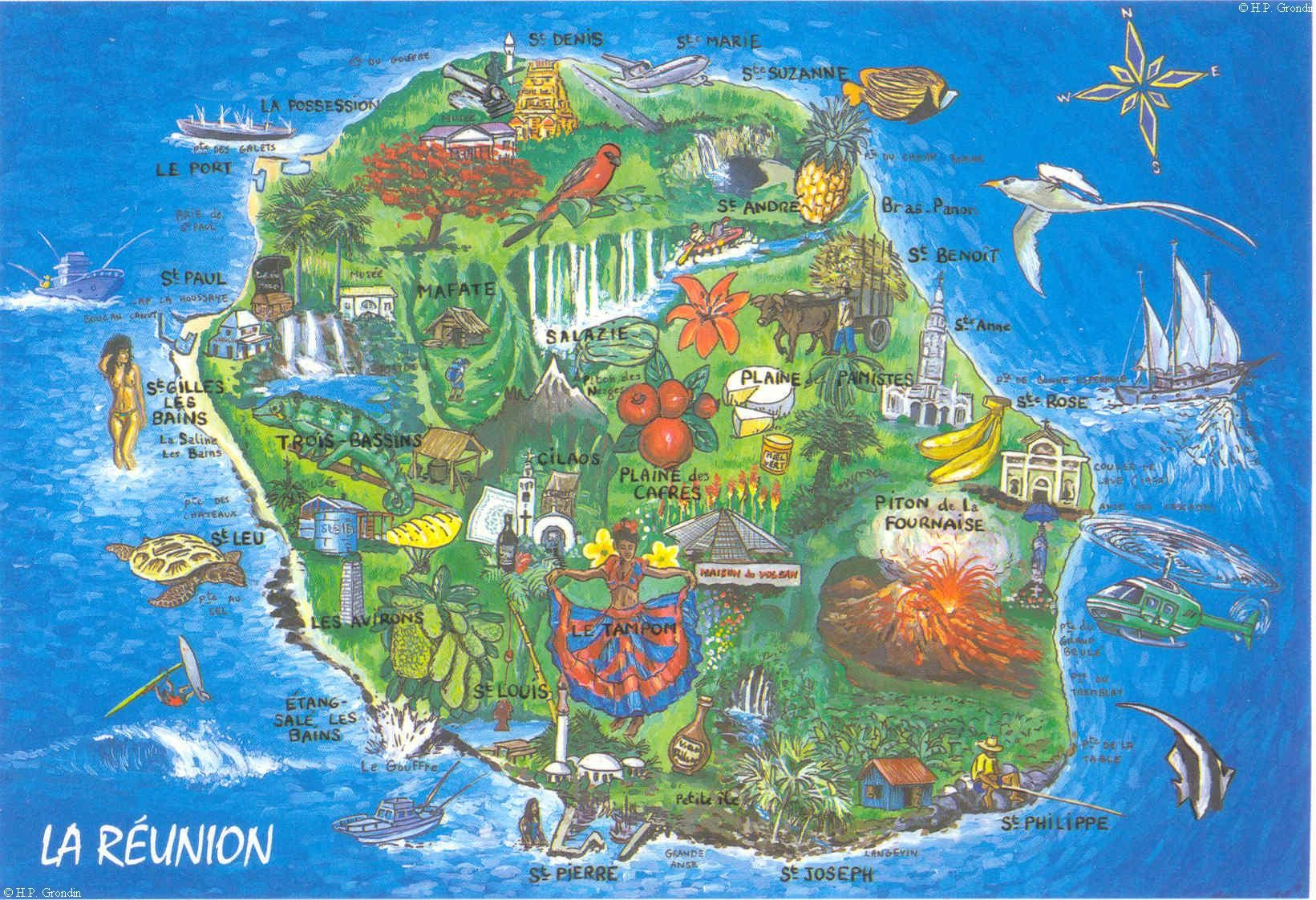 Connu Carte Ile de la Réunion | cartographie | Pinterest | La reunion  VS53