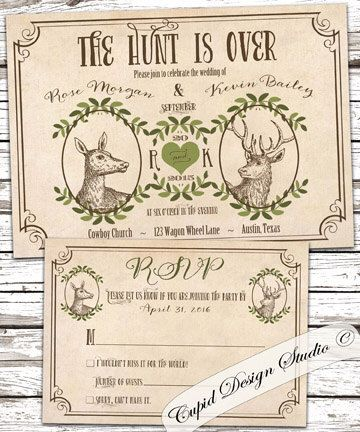 The Hunt Is Over Wedding Invitations Deer Invites Winter Spring Printable Or Printed By