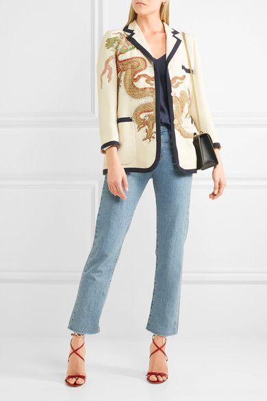 Gucci | Blazer aus einer Woll-Seidenmischung mit Applikationen | NET-A-PORTER.COM
