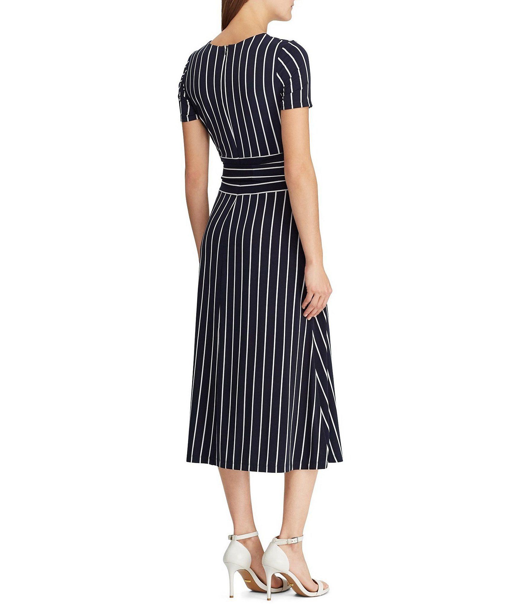 1e232a9481 Lauren Ralph Lauren Belted Striped Jersey Fit   Flare Midi Dress  Dillards