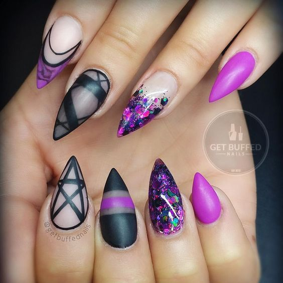 Perfectly #witchy in black + purple nails by ...