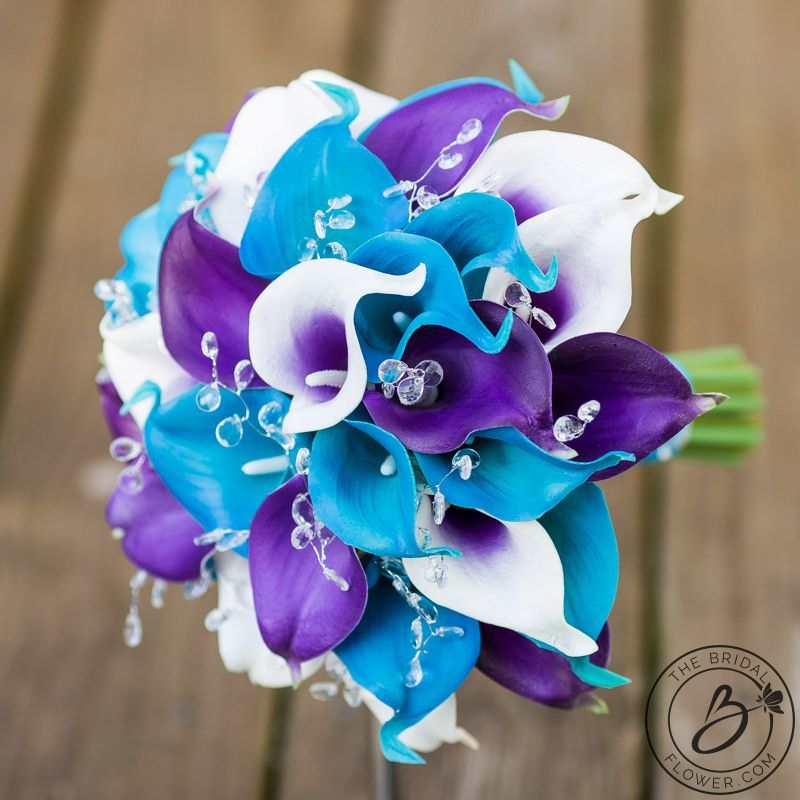 Purple And Turquoise Calla Lily Wedding Bouquet With Crystals 9