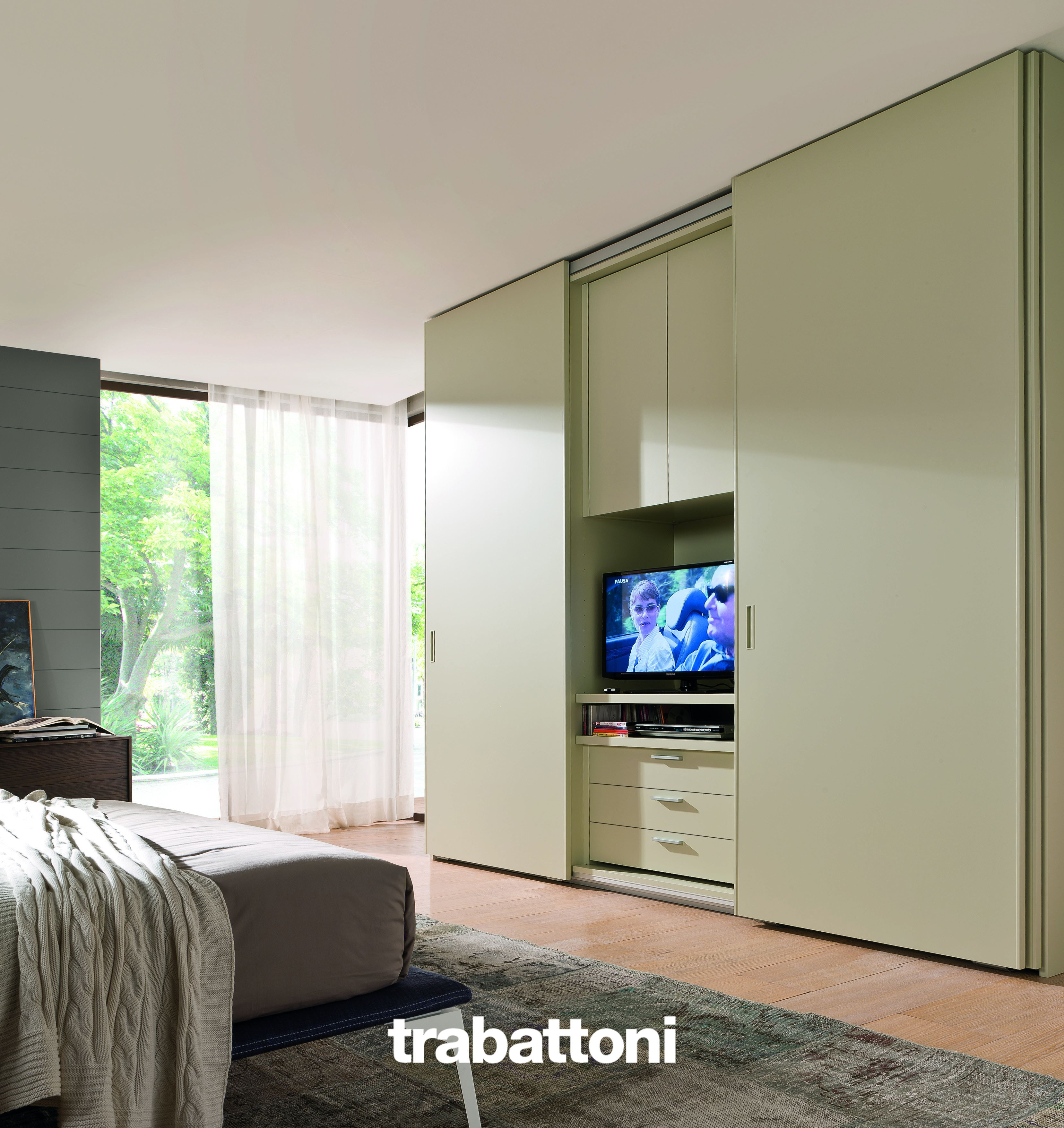 Tv Unit In The Bedroom Which Can Be Hidden By Wardrobe Sliding  # Giellesse Muebles