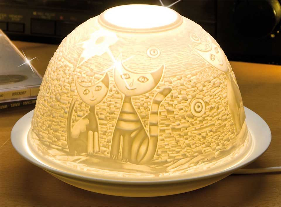 "Dome Light Maxi Porzellan-Windlicht ""Zwei-Katzen""   Lampen ..."