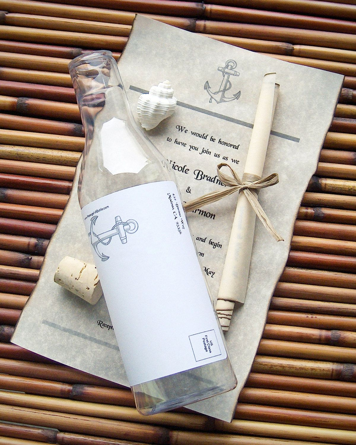 Message In A Bottle Wedding Invitations: Message In A Bottle Destination Wedding By
