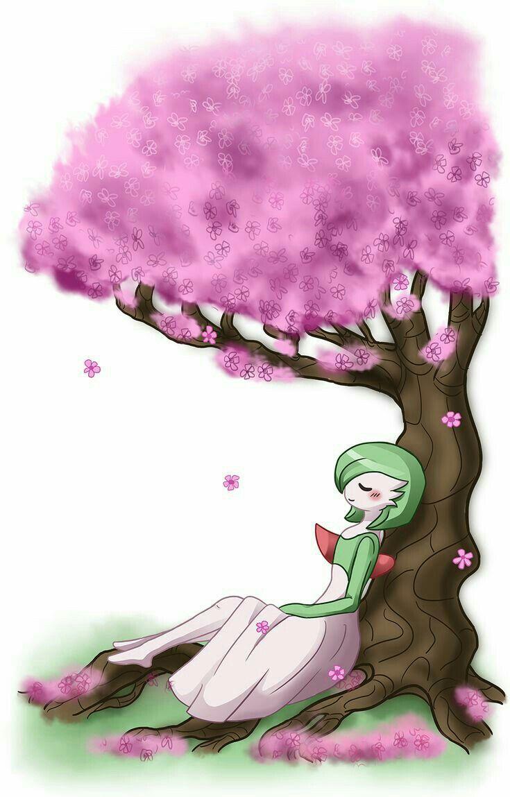 Gardavoir under cherry blossoms pokemon pictures