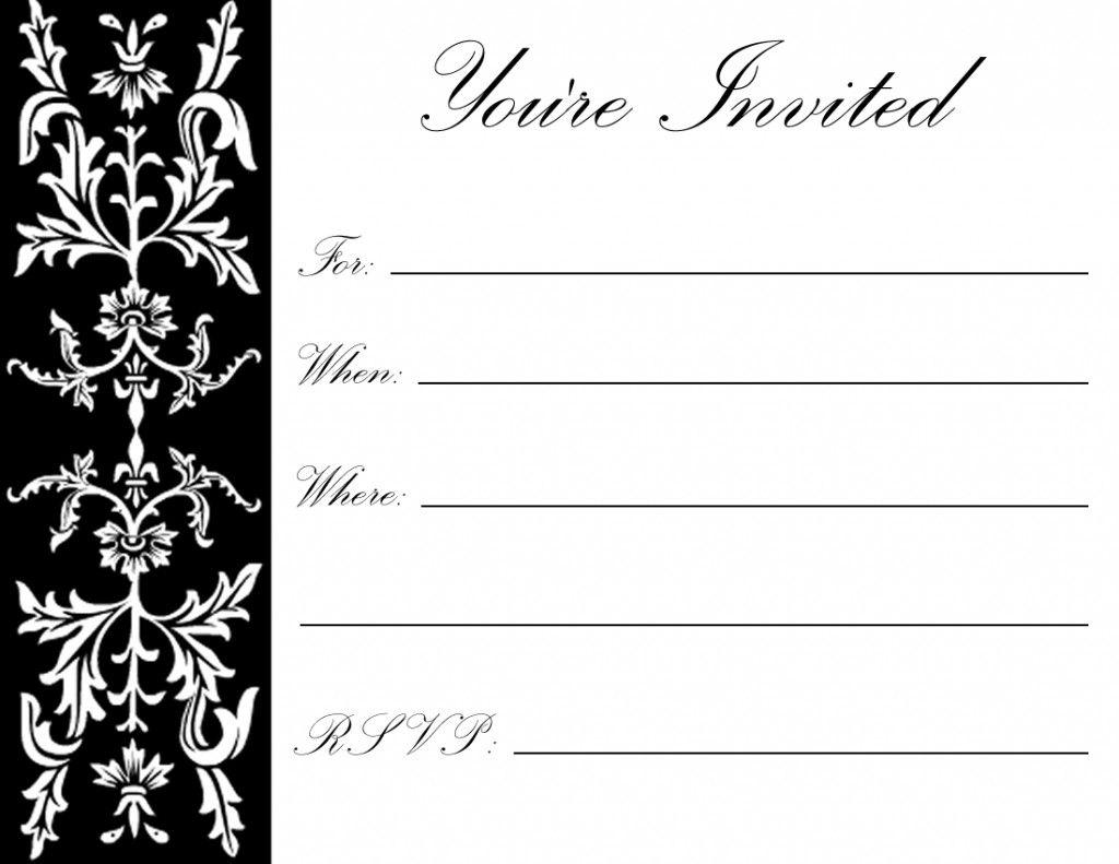 Black White Invite Free Printable Birthday Invitations